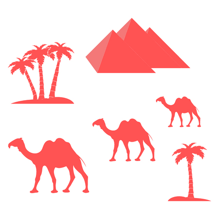 camel desert: Nice picture showing love to travel: pyramids, palm trees, camels on a white background