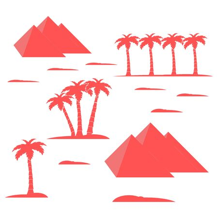 cheops: Nice picture showing love to travel: pyramids and palm trees on a white background Illustration