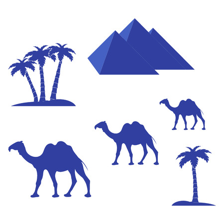 Nice picture showing love to travel: pyramids, palm trees, camels on a white background