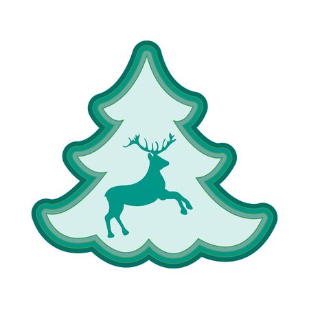 Cute illustration on Christmas or New Years theme. Deer silhouette against the background of the Christmas tree painted in gentle colors. Illustration