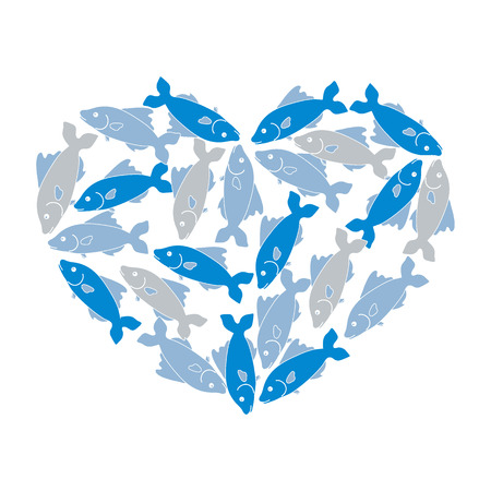 deep sea fishing: Cute picture of colored fish located along the contour of the heart on a white background