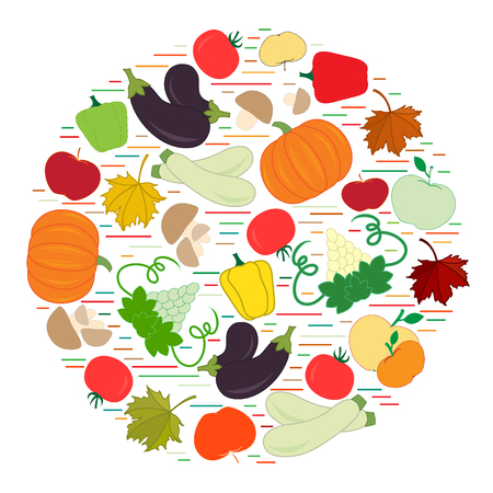 vivacity: Set of autumn seasonal fruits and vegetables in circle. Tomato, pepper, grapes, zucchini, eggplant and other fall fruits and vegetables for announcement, advertisement, flyer or banner.