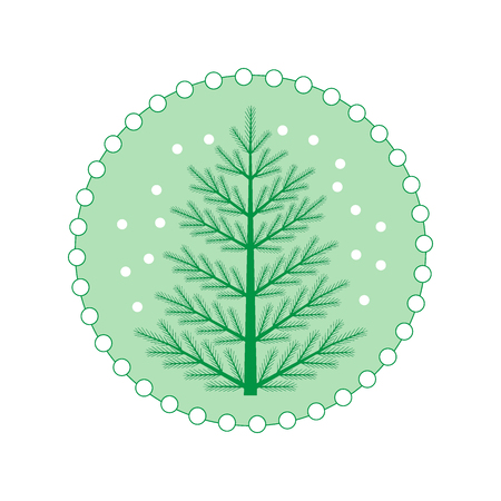 Vector illustration of Christmas tree with snowflakes on a colored circle background.