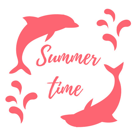 Nice picture with two colored dolphins with splashes and inscription Summer time on white background Illustration