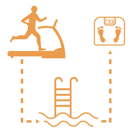 Nice picture of the sport lifestyle: man on a treadmill, swimming pool and scales on a white background
