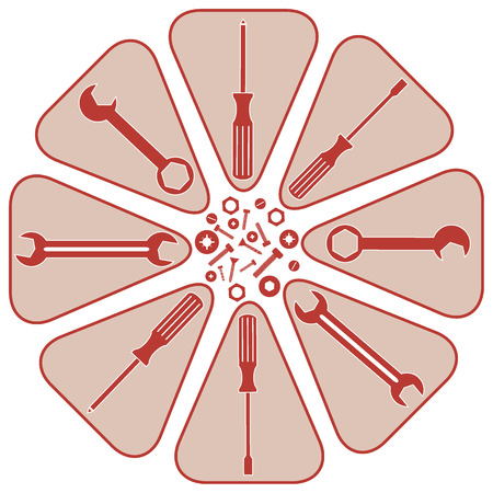 unscrew: Nice picture of a colored scheme with different tools on a white background