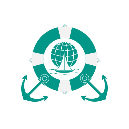 Stylized icon of a colored yacht, sailing over the waves on a globe in lifebuoy with two anchors on a white background