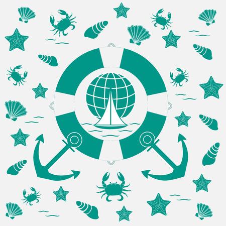 海洋のテーマの素敵な写真: 救命、アンカー、船、波、カニ、ヒトデ、白い背景の上の貝殻
