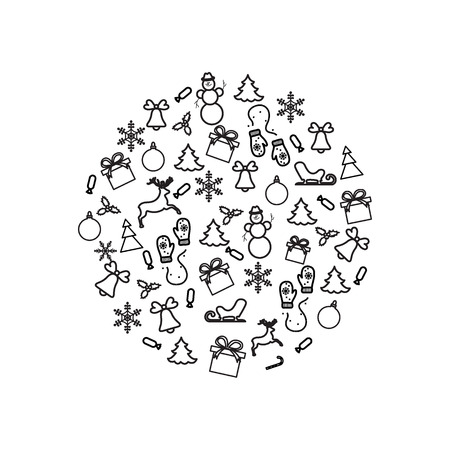 circl: Vector illustration of different new year and christmas symbols arranged in a circl. Winter elements made in line style.