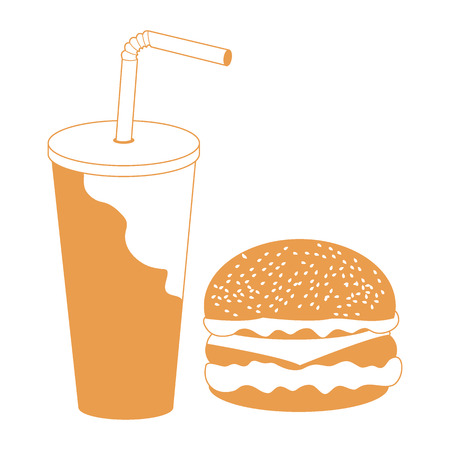 Stylized icon of a hamburger and a glass and straw with a cocktail on a white background