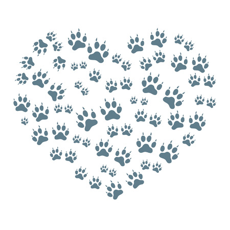 huellas de animales: Nice picture of animal tracks arranged in a heart shape on a white background.