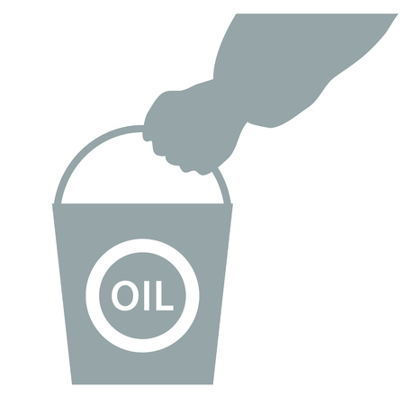 chemical spill: Stylized icon of the hand carrying a bucket of oil on a white background