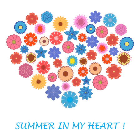 laid: Nice picture of colorful flowers laid out in the shape of a heart and the words: Summer in my heart on a white background