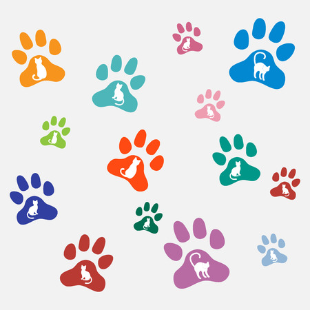 Nice picture of silhouette cats sit and stand inside multicolored animal traces on a light background.