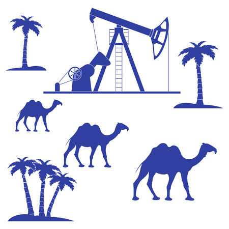 palm oil: Stylized icon of the equipment for oil production on a color background with palm trees and camels Illustration