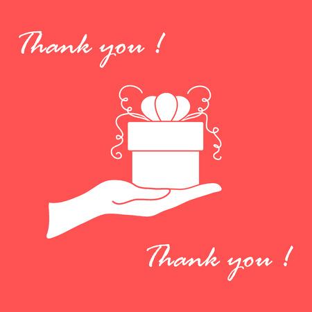 Imagen linda con la mano sosteniendo un regalo y una inscripción: gracias sobre un fondo de color.