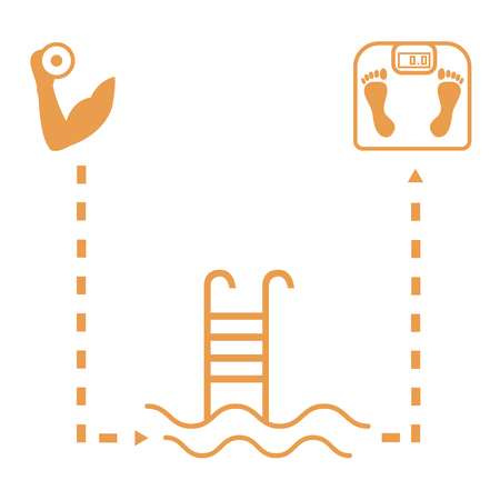 Nice picture of the sport lifestyle: hand with dumbbells, barbells, swimming pool and scales on a white background