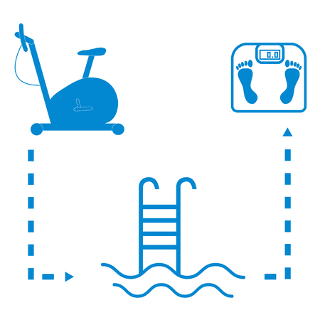 exercise bike: Nice picture of the sport lifestyle: exercise bike, swimming pool and scales on a white background Illustration