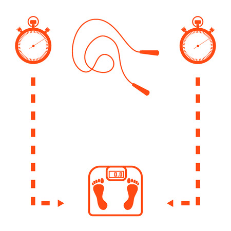 skipping rope: Stylized icon of the with scales, two stopwatch, arrows, skipping rope on a white background