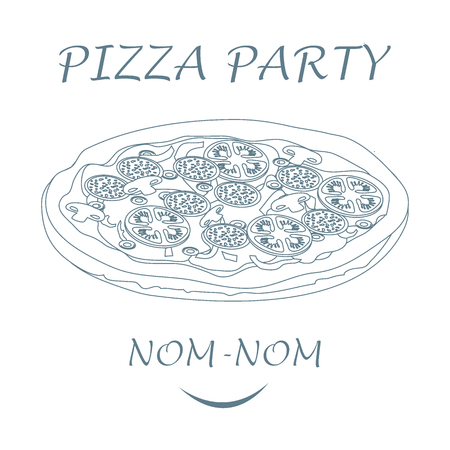 appetizing: Nice illustration of tasty, appetizing pizza with inscriptions pizza party on a white background.