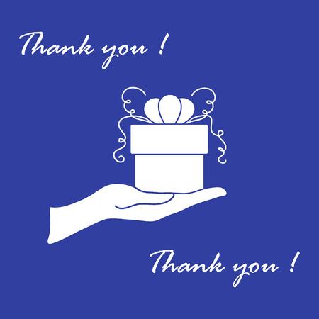 Imagen linda con la mano sosteniendo un regalo y una inscripción: gracias sobre un fondo de color. Ilustración de vector