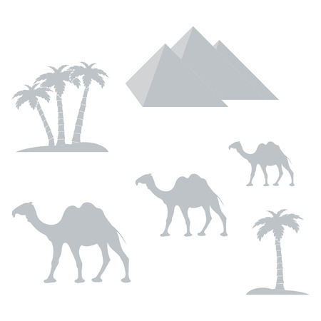 ancient civilization: Nice picture showing love to travel: pyramids, palm trees, camels on a white background