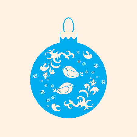 Vector icon Christmas ball with birds and frost patterns on light background.