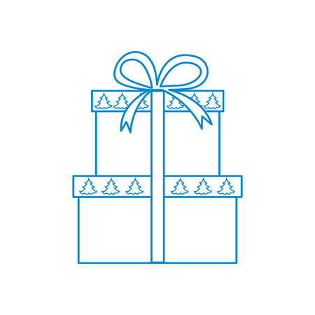 polygraphy: Vector illustration of gift boxes decorated Christmas trees. Design element for postcard, invitation, banner, flyer or other polygraphy and design. Illustration