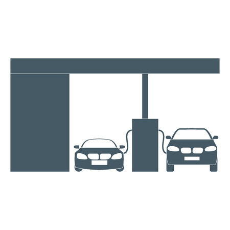 petrol station: Stylized icon of the petrol station with two cars on a white background Illustration