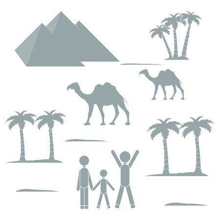 dromedary: Nice picture showing love to travel: people and pyramids, palm trees, camels on a white background