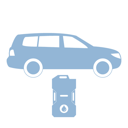 gas can: Stylized icon of the car and canister of gasoline on a white background