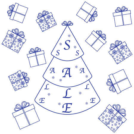 economize: Vector illustration of Christmas tree with text sale and collection of presents and gift boxes. Design element for postcard, invitation, banner or flyer.