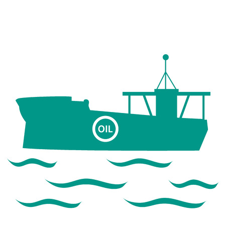 water carrier: Stylized icon of the tanker of oil floating on waves on a white background Illustration