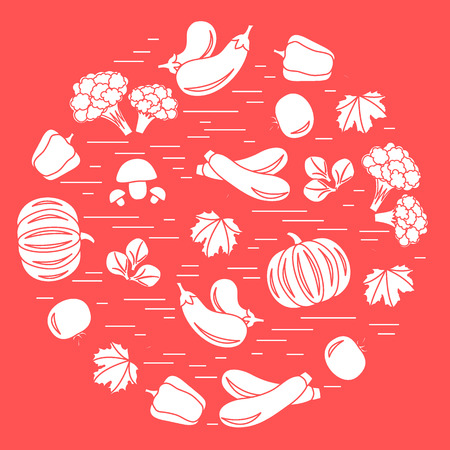 cauliflower: Set of autumn seasonal vegetables in circle. Tomato, pepper, zucchini and other fall vegetables for announcement, advertisement, flyer or banner. Vector illustration.