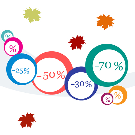 lowering: Vector  illustration of various discounts for markets and shops. Label for shop. Autumn sale. Illustration