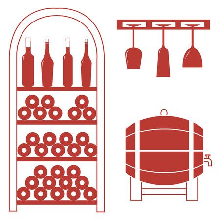 Stilisierte Symbol eines farbigen Weinregal, Weinflaschen, Weingläser und Weinfass auf einem weißen Hintergrund