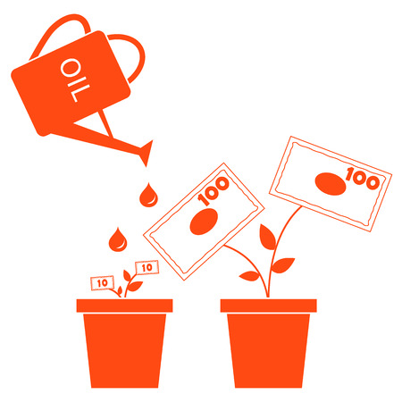 Stylized icon of the watering can pours fuel potted money trees on a white background