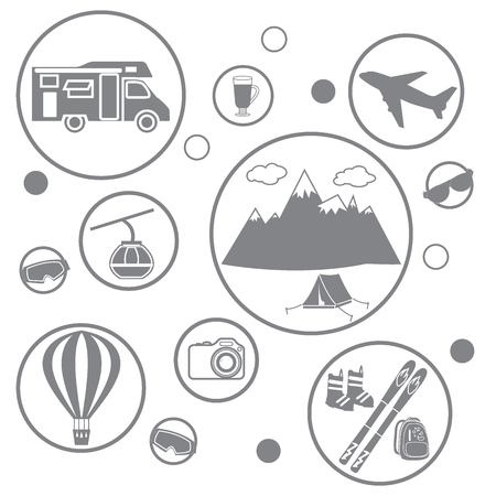 family hiking: Set of stylized icons of tourist equipment and accessories in the mountains on a white background