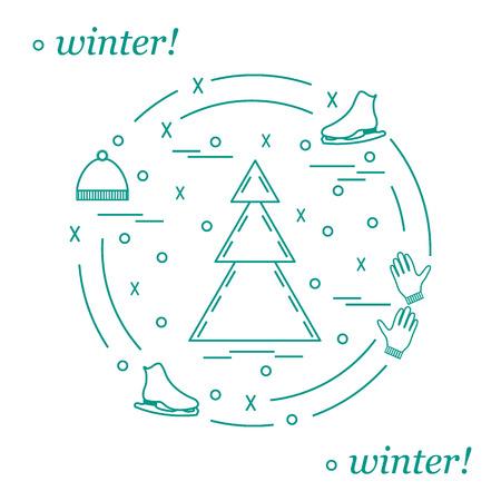 Vektor-Illustration für Sport Eiskunstlauf in einem Kreis angeordnet. Einschließlich Ikonen der Schlittschuhe, Handschuhe, Mütze, Fichte. Winter-Elemente im Einklang Stil.