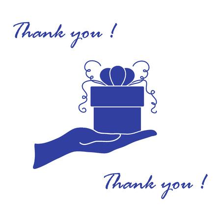 Imagen linda con la mano sosteniendo un regalo y una inscripción: gracias sobre un fondo blanco.