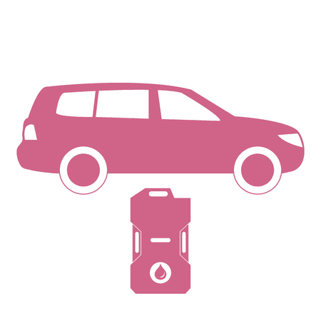 Stylized icon of the car and canister of gasoline on a white background