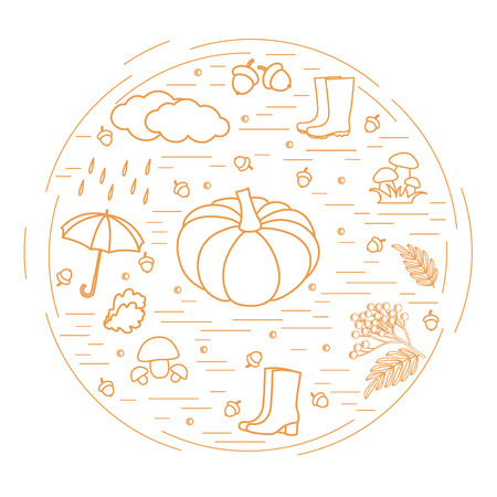 Vector illustration of different autumn seasonal symbols arranged in a circle. Autumn elements made in line style.