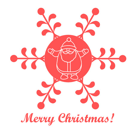 Christmas series: nice picture with Santa Claus in a snowflake in a linear style on a white background.