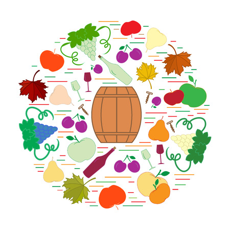vivacity: Autumn symbols in circle. Barrel, corkscrew, wine glass, pear, plum, grapes and other fall symbol  for announcement, advertisement, flyer or banner. Vector illustration.