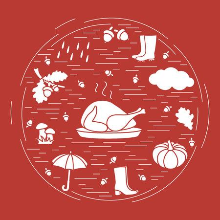 Autumn symbols in circle. Umbrella, acorns, turkey, rain, pumpkin and other fall symbols for announcement, advertisement, flyer or banner. Vector illustration. Illustration