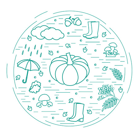 ash cloud: Vector illustration of different autumn seasonal symbols arranged in a circle. Autumn elements made in line style.