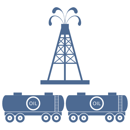 oil drum: Stylized icon of the equipment for oil production and tanks with oil on a white background