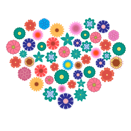 out of shape: Nice picture of colorful flowers laid out in the shape of a heart on a white background