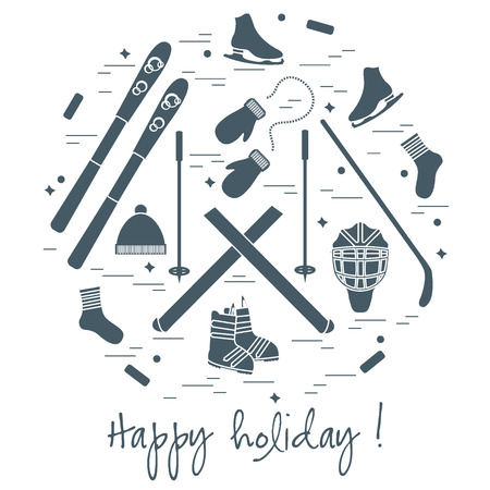 Vector illustration of different elements of sports equipment and clothing for winter sports arranged in a circl. For postcard, invitation, banner, flyer or other polygraphy and design.