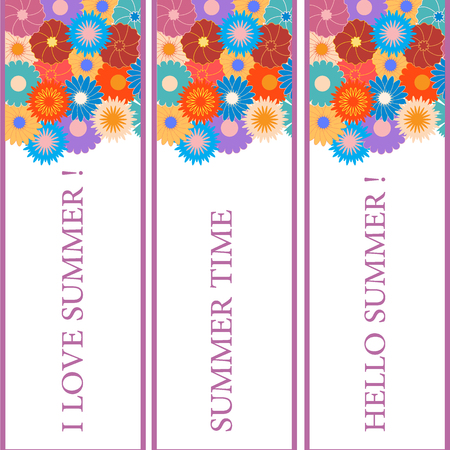 bookmarks: Nice picture with three bookmarks with floral patterns on the top and the various inscriptions on a white background